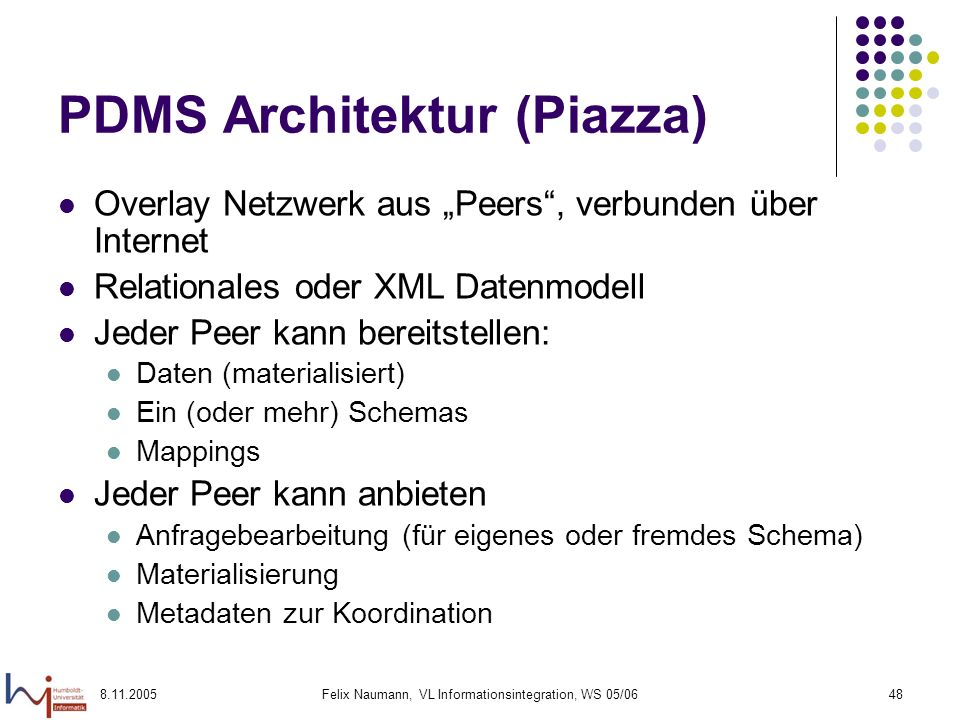 PDMS Architektur (Piazza)