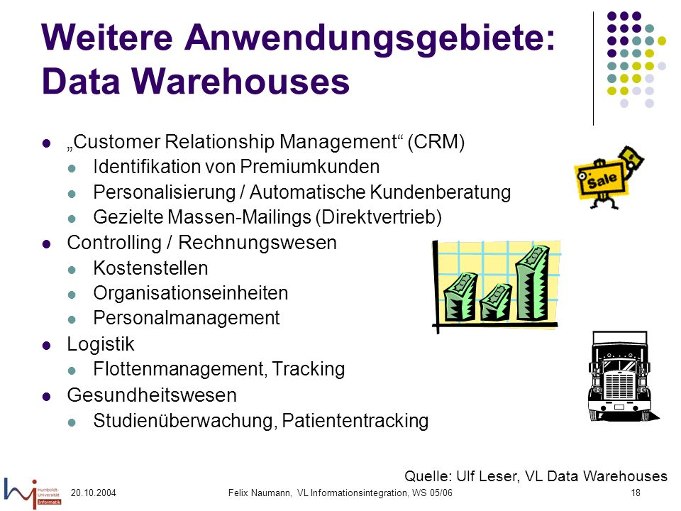 Weitere Anwendungsgebiete: Data Warehouses