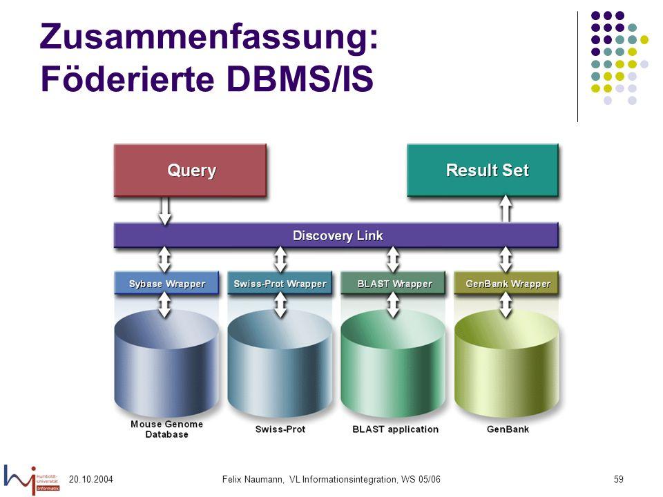 Zusammenfassung: Föderierte DBMS/IS