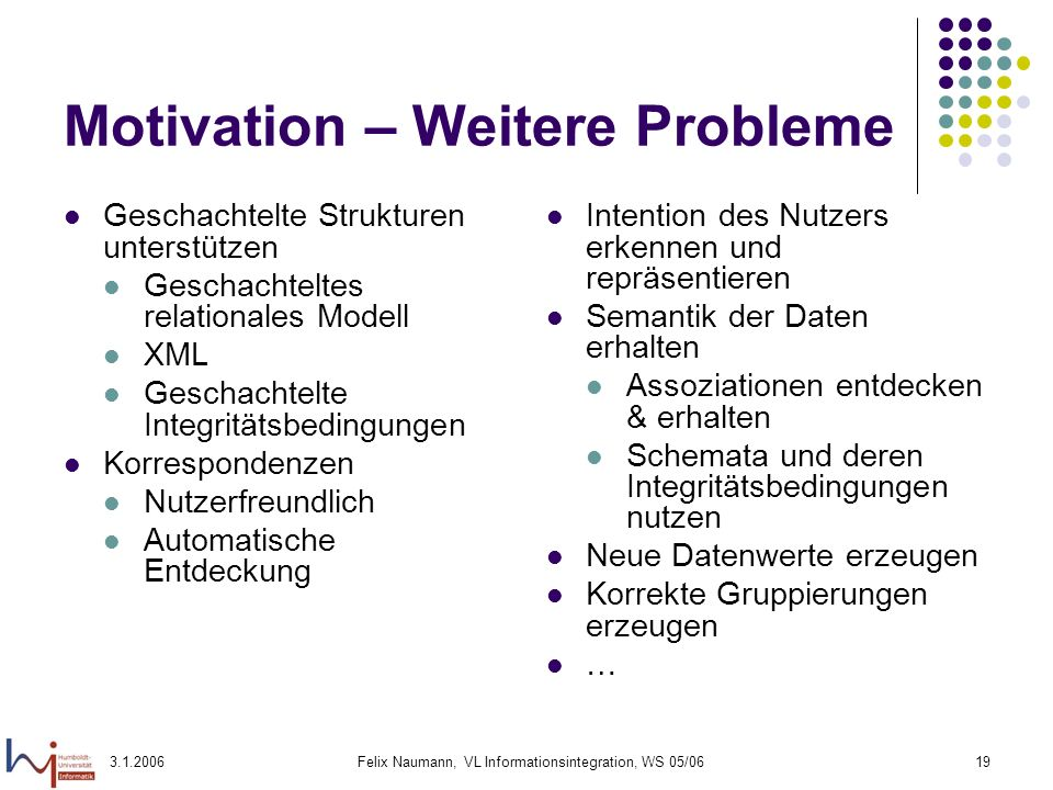 Motivation – Weitere Probleme