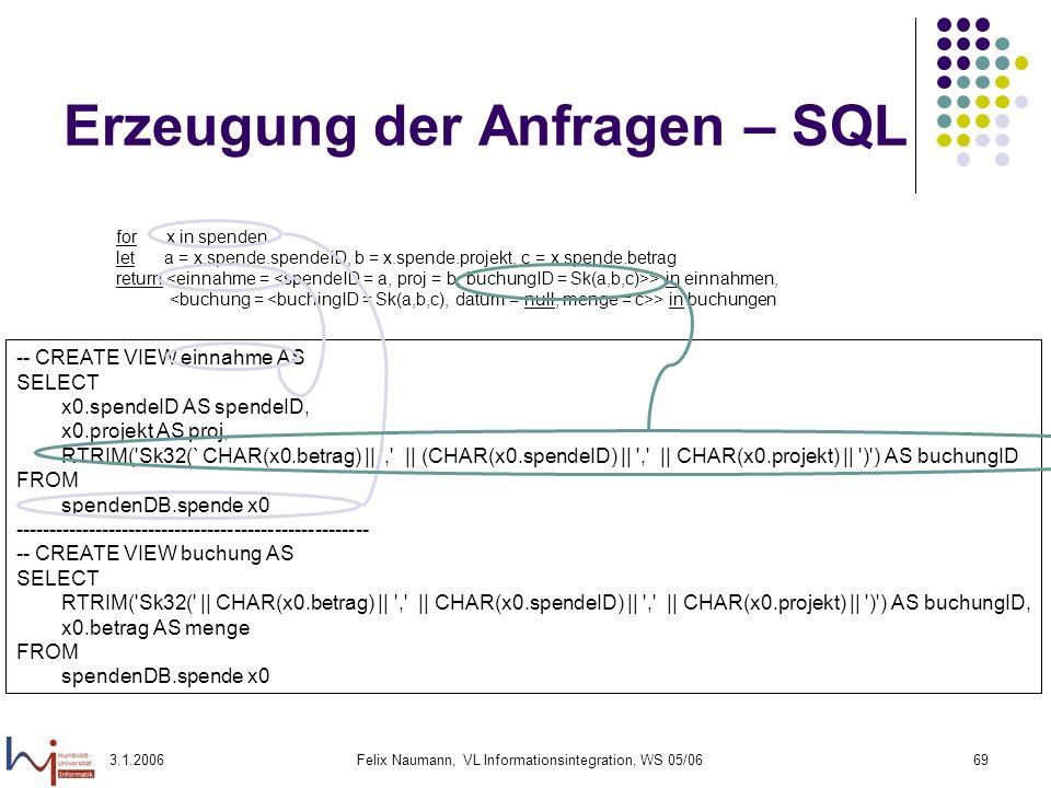 Erzeugung der Anfragen – SQL