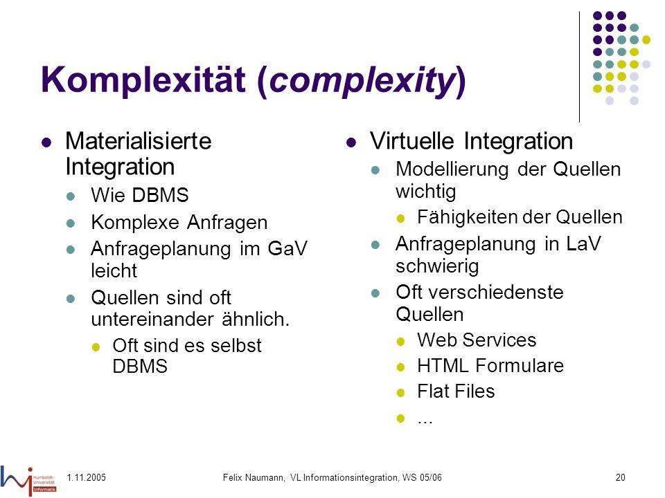 Komplexität (complexity)