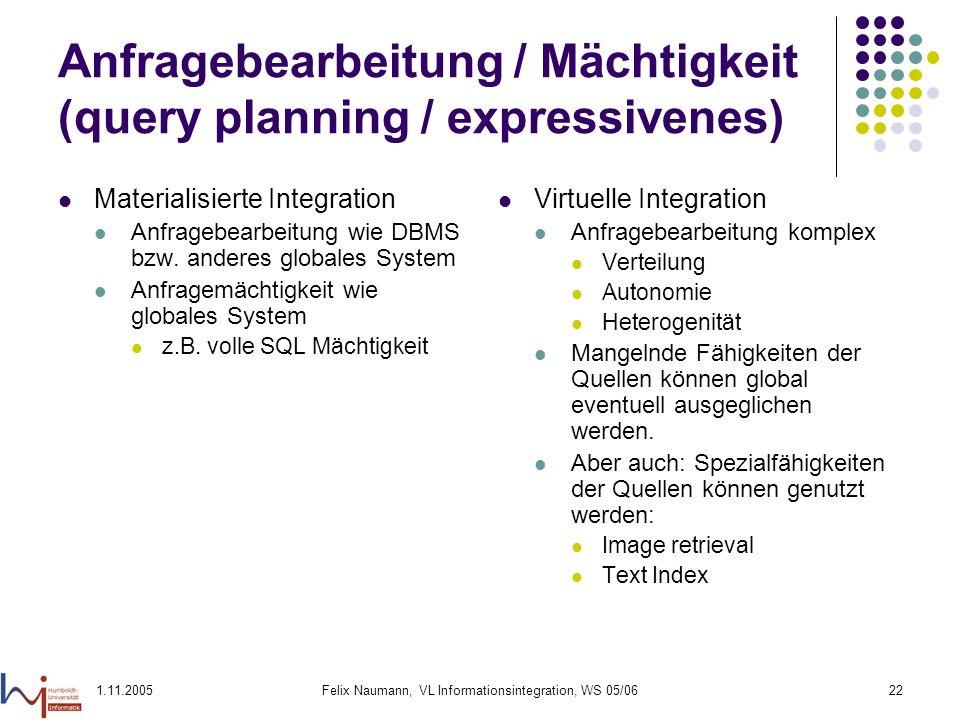 Anfragebearbeitung / Mächtigkeit (query planning / expressivenes)