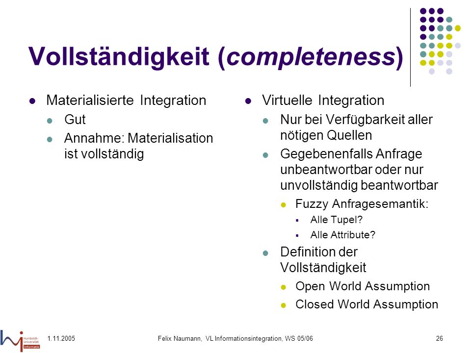 Vollständigkeit (completeness)