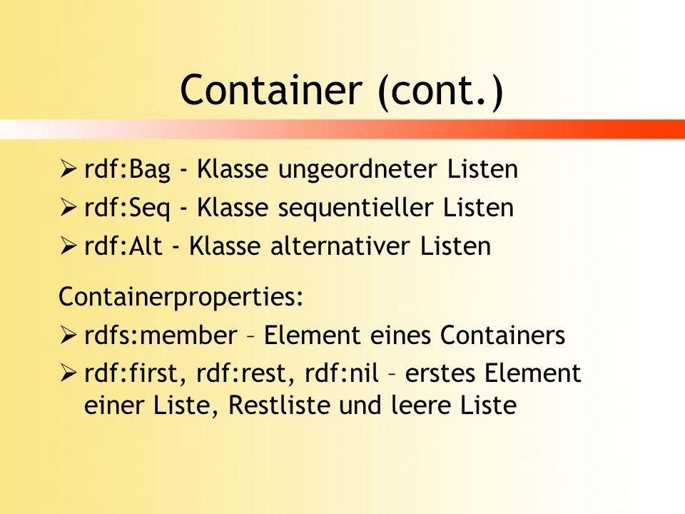 Container (cont.) rdf:Bag - Klasse ungeordneter Listen