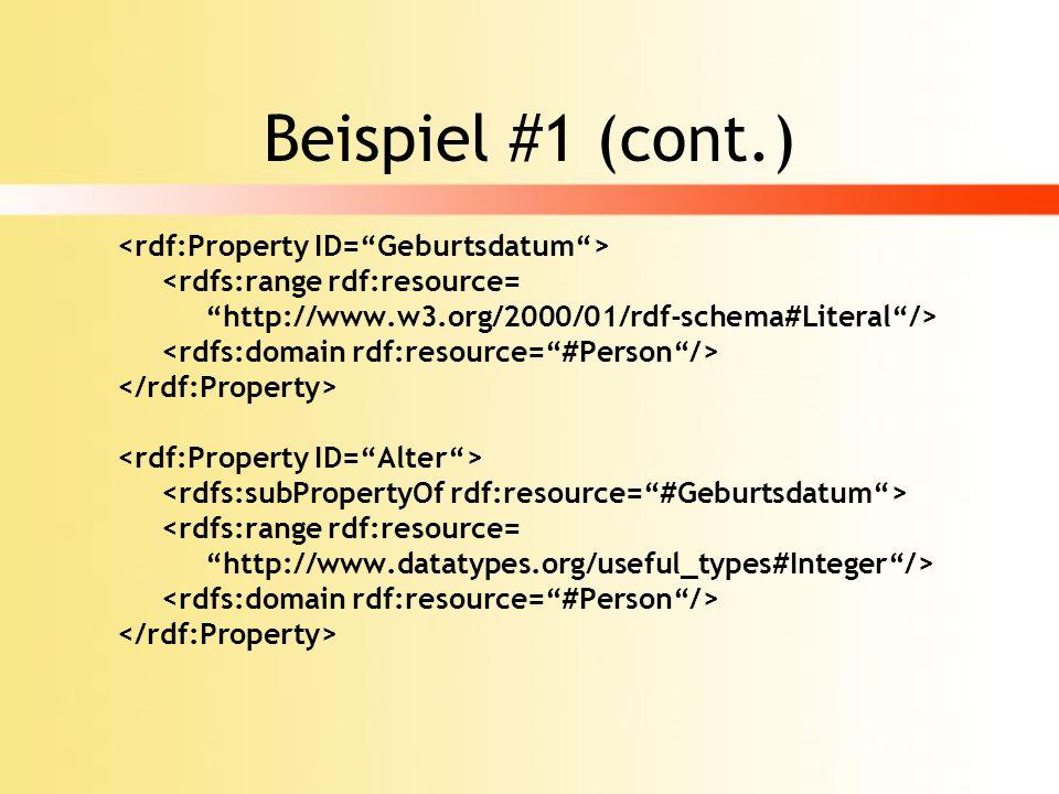 Beispiel #1 (cont.) <rdf:Property ID= Geburtsdatum >