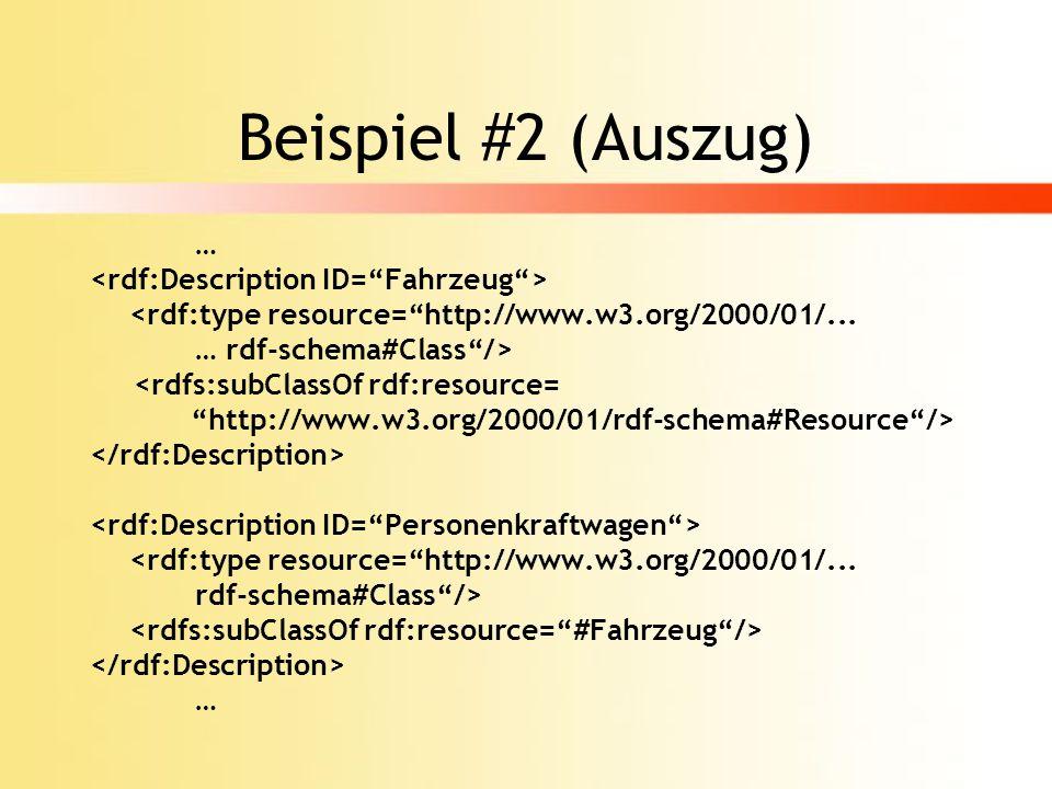 Beispiel #2 (Auszug) … <rdf:Description ID= Fahrzeug >