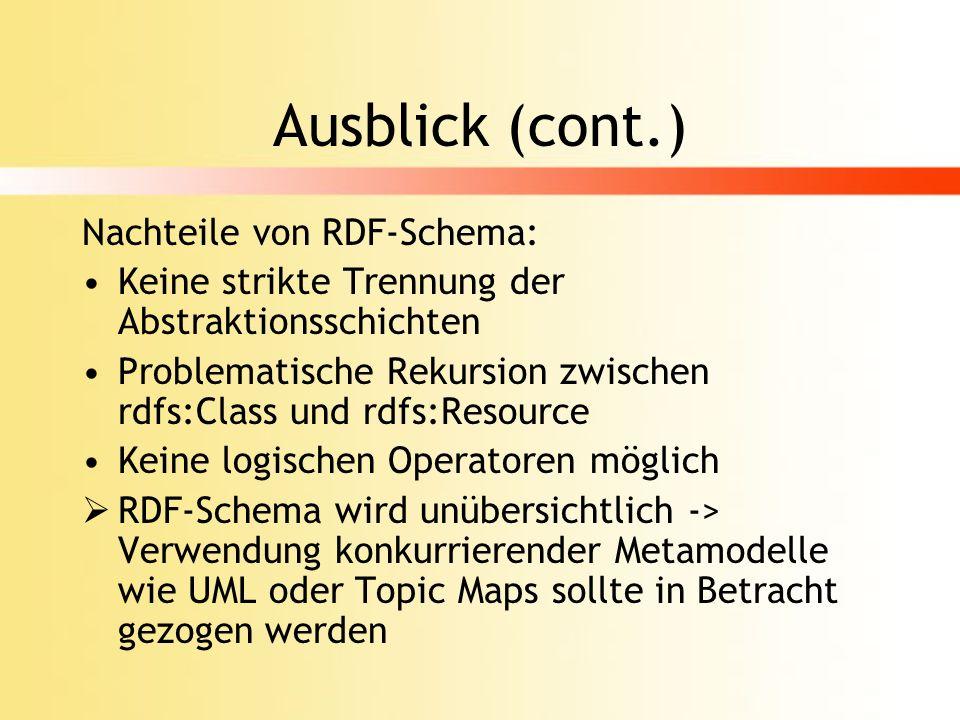 Ausblick (cont.) Nachteile von RDF-Schema: