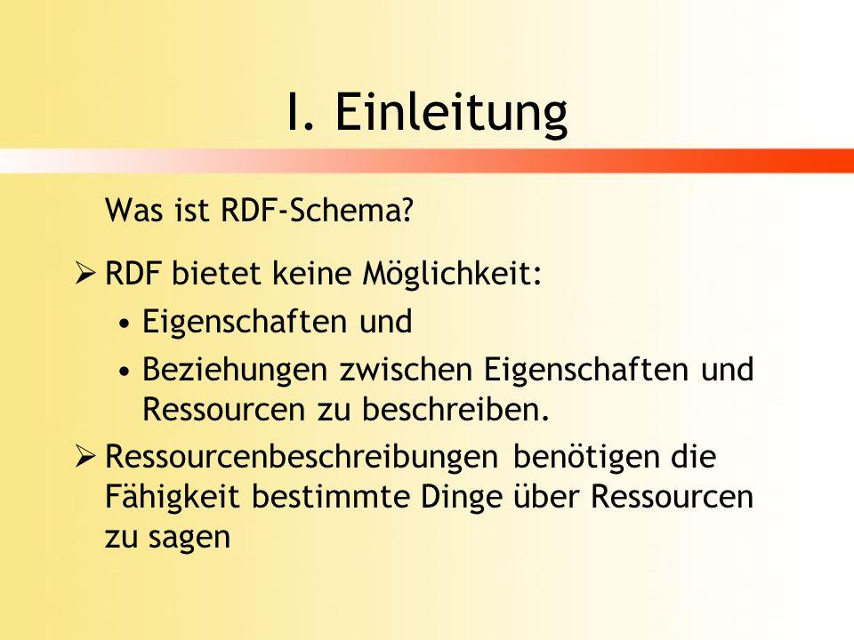 I. Einleitung Was ist RDF-Schema RDF bietet keine Möglichkeit: