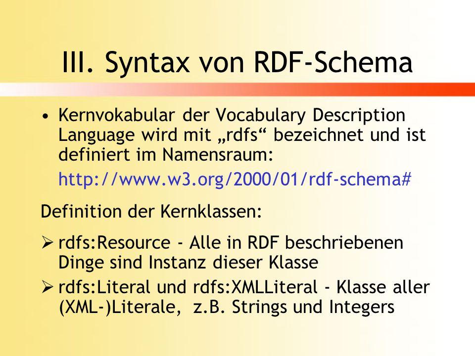 III. Syntax von RDF-Schema