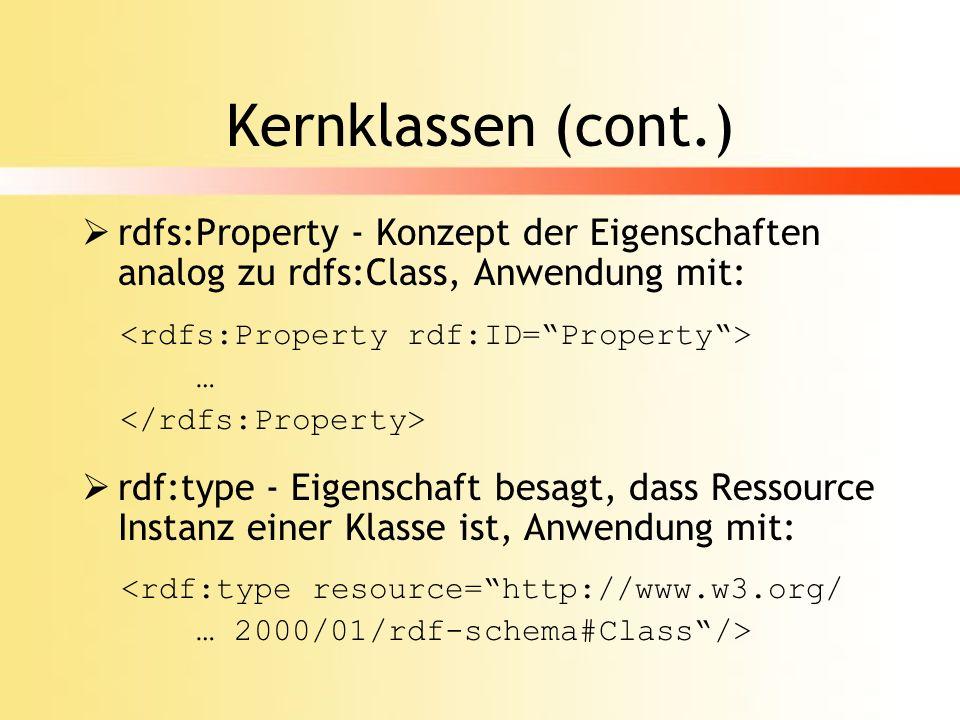 Kernklassen (cont.) rdfs:Property - Konzept der Eigenschaften analog zu rdfs:Class, Anwendung mit: