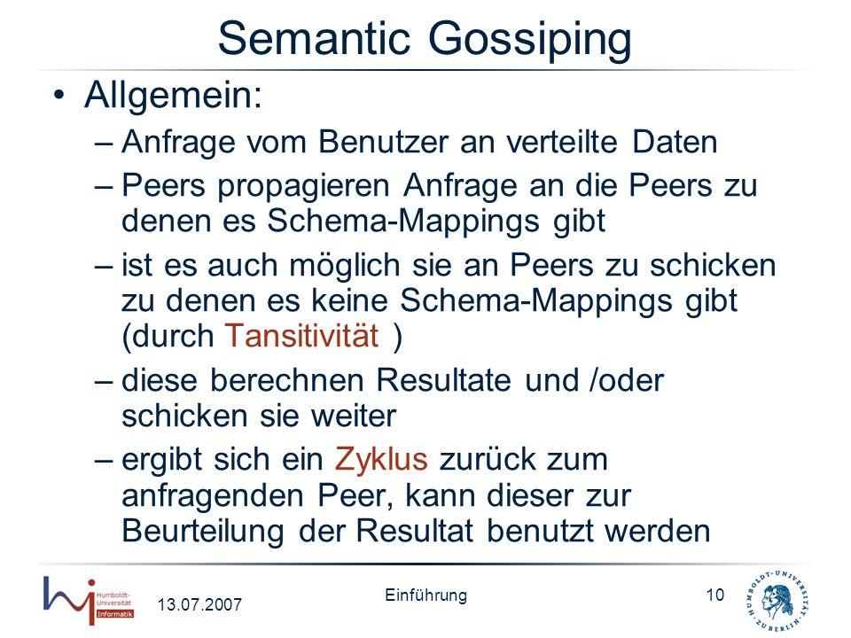 Semantic Gossiping Allgemein: Anfrage vom Benutzer an verteilte Daten