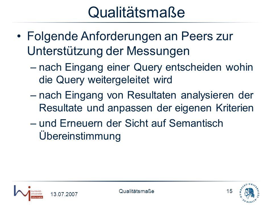 Qualitätsmaße Folgende Anforderungen an Peers zur Unterstützung der Messungen.