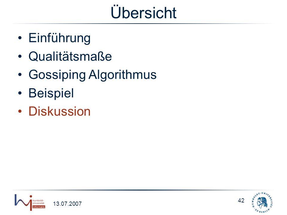 Übersicht Einführung Qualitätsmaße Gossiping Algorithmus Beispiel