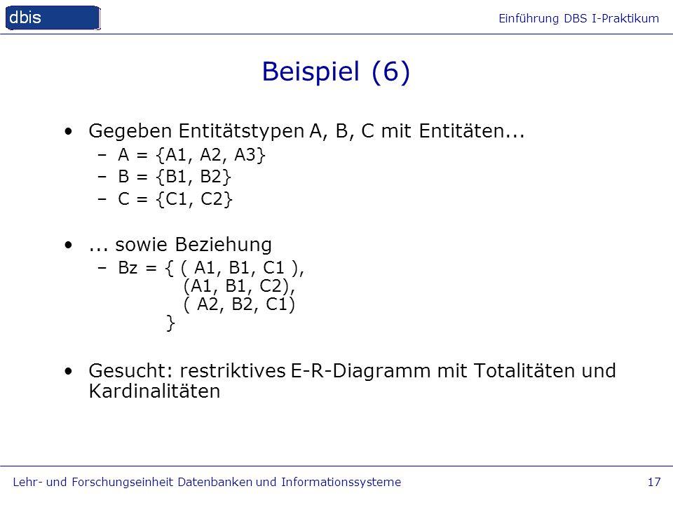 Beispiel (6) Gegeben Entitätstypen A, B, C mit Entitäten...