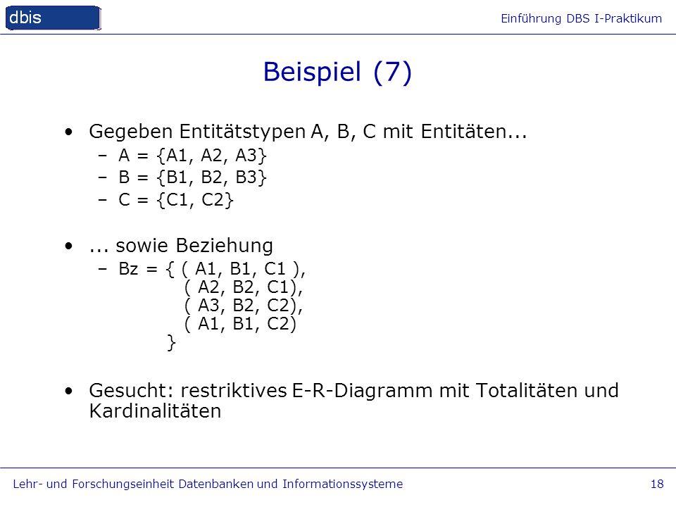 Beispiel (7) Gegeben Entitätstypen A, B, C mit Entitäten...
