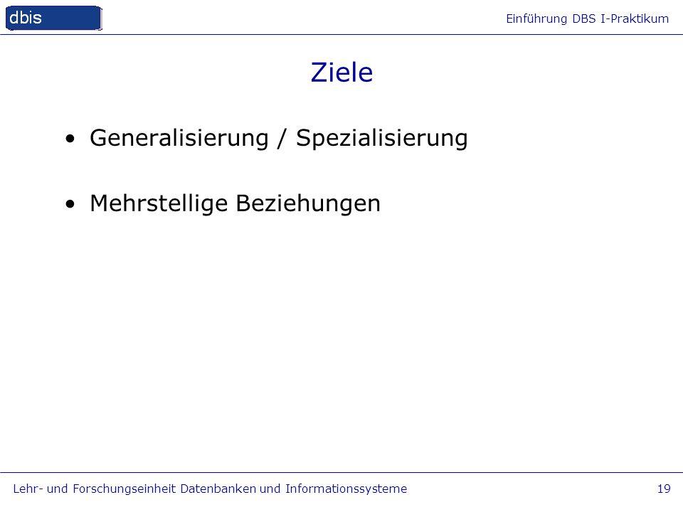 Ziele Generalisierung / Spezialisierung Mehrstellige Beziehungen