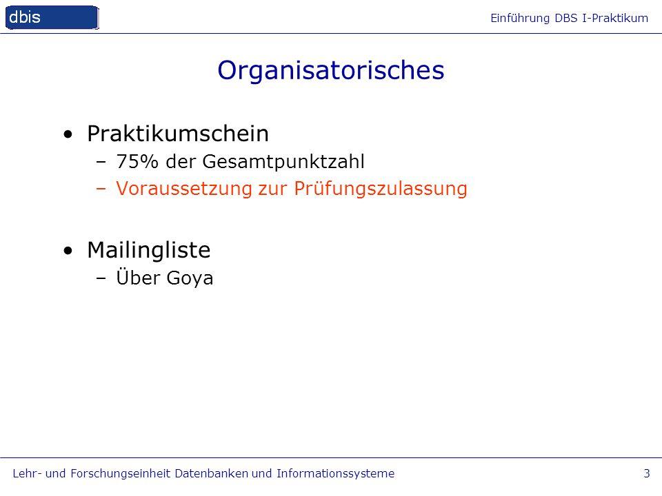 Organisatorisches Praktikumschein Mailingliste 75% der Gesamtpunktzahl