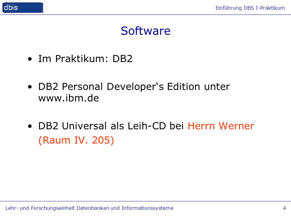 Software Im Praktikum: DB2