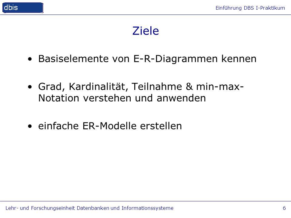 Ziele Basiselemente von E-R-Diagrammen kennen