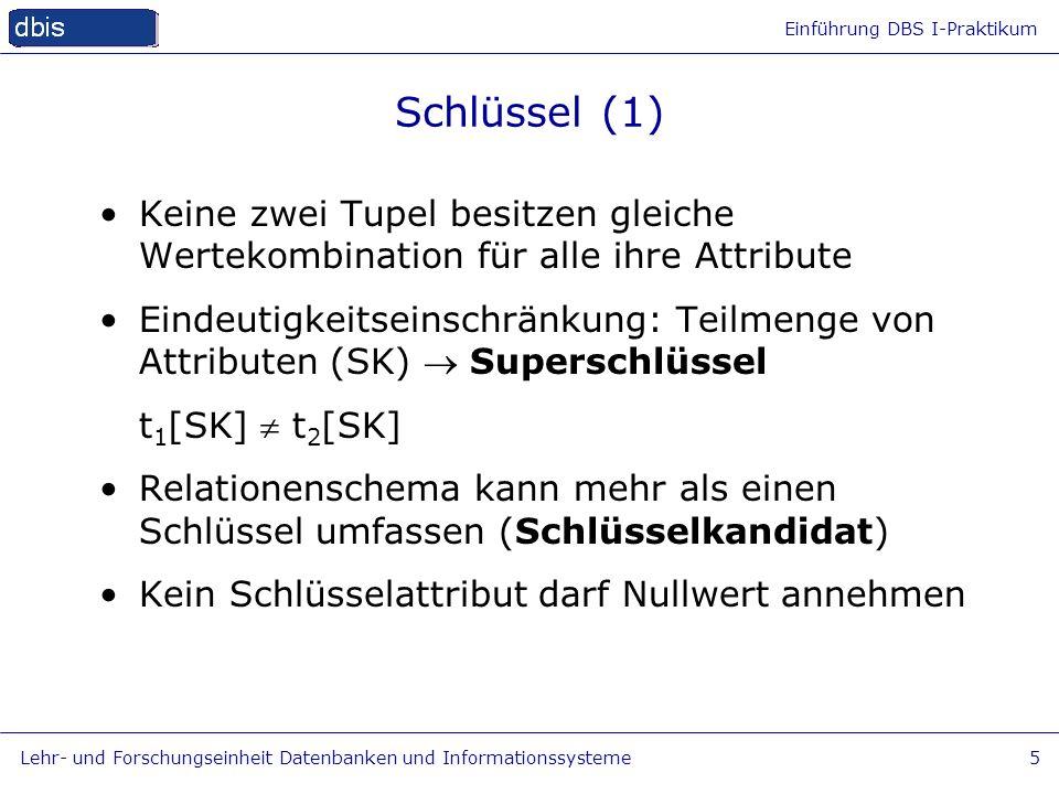 Schlüssel (1) Keine zwei Tupel besitzen gleiche Wertekombination für alle ihre Attribute.
