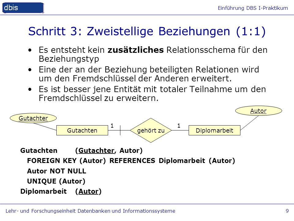 Schritt 3: Zweistellige Beziehungen (1:1)