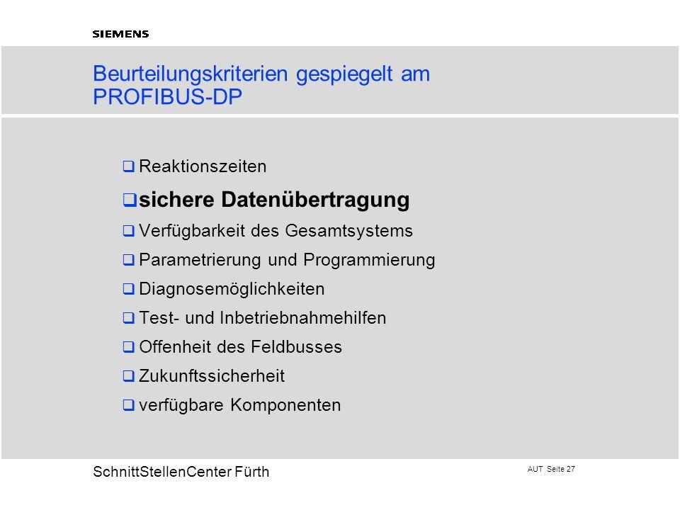 Beurteilungskriterien gespiegelt am PROFIBUS-DP
