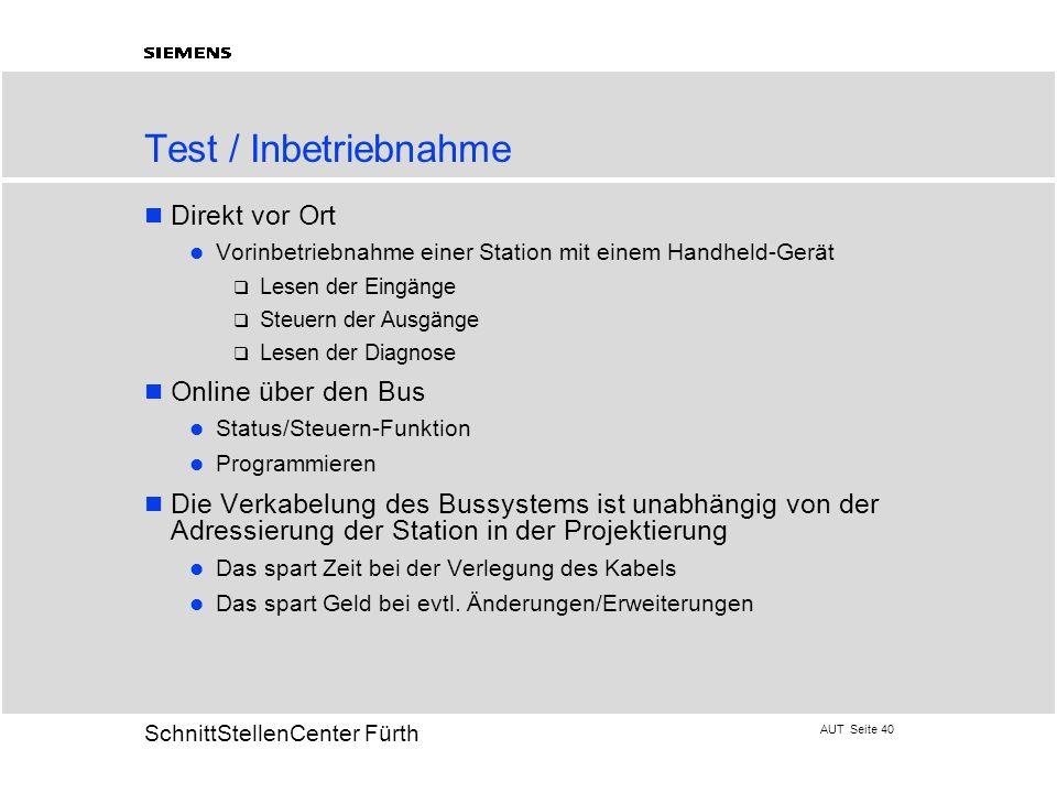 Test / Inbetriebnahme Direkt vor Ort Online über den Bus
