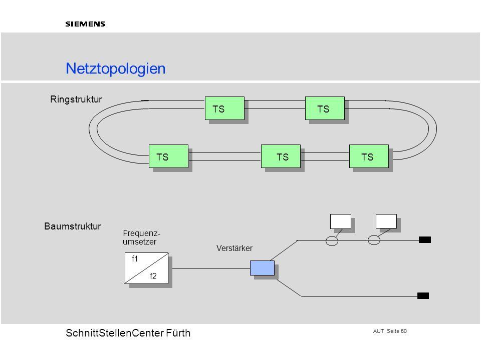 Netztopologien Ringstruktur TS TS TS TS TS Baumstruktur Frequenz-