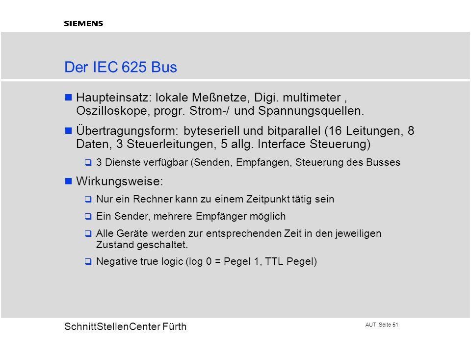 Der IEC 625 Bus Haupteinsatz: lokale Meßnetze, Digi. multimeter , Oszilloskope, progr. Strom-/ und Spannungsquellen.