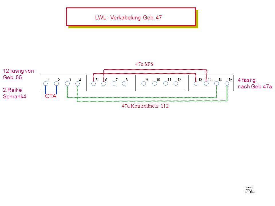 CTA LWL - Verkabelung Geb. 47 47a SPS 12 fasrig von Geb. 55 2.Reihe