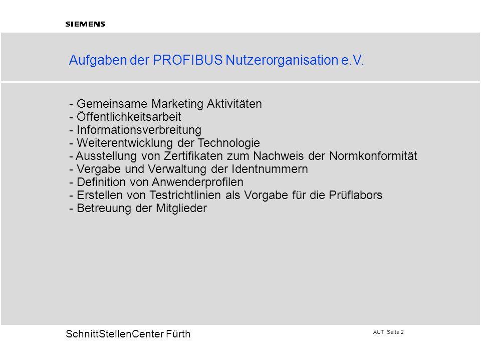 Aufgaben der PROFIBUS Nutzerorganisation e.V.