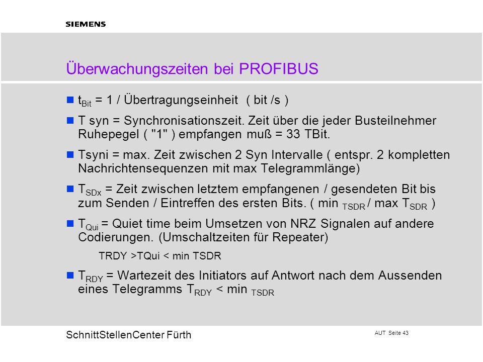 Überwachungszeiten bei PROFIBUS