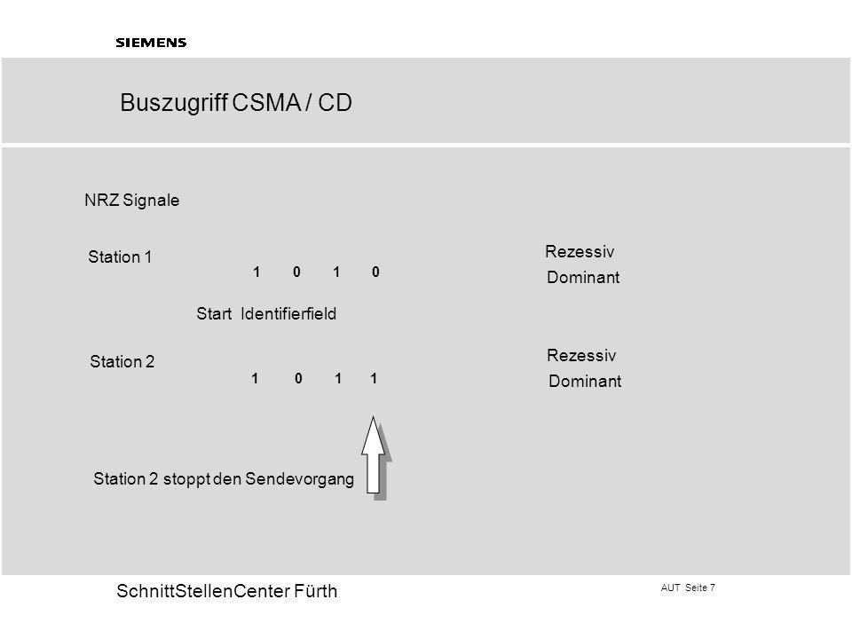 Buszugriff CSMA / CD NRZ Signale Rezessiv Station 1 Dominant