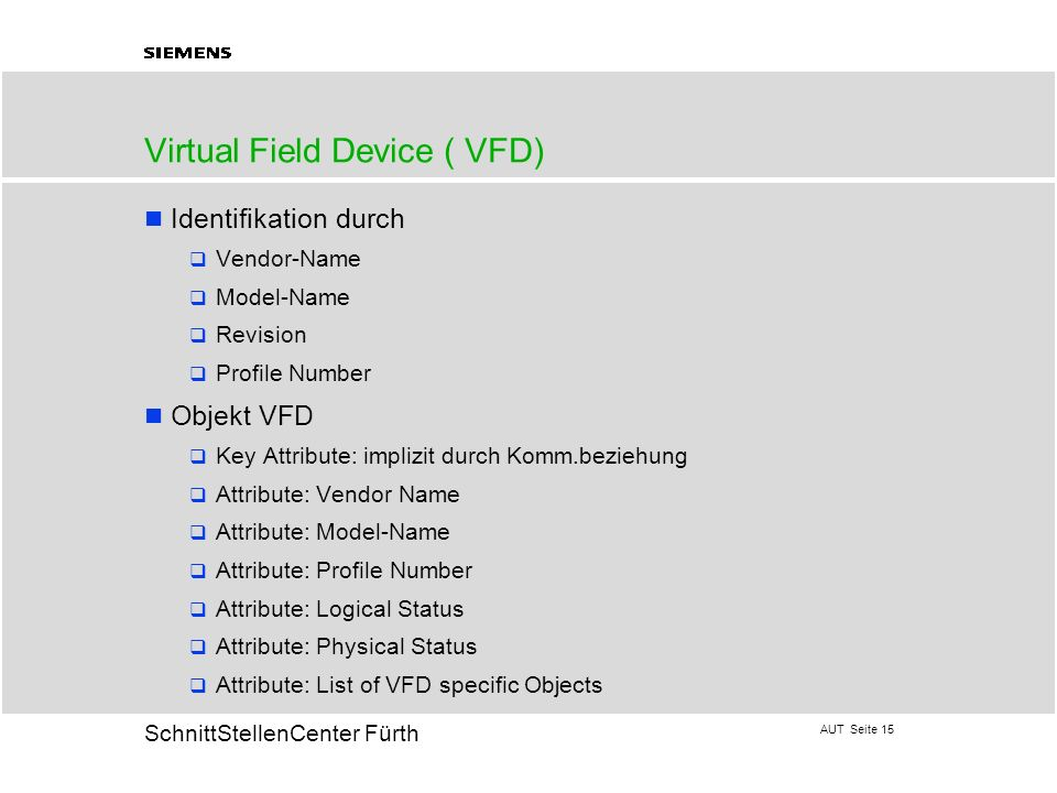 Virtual Field Device ( VFD)