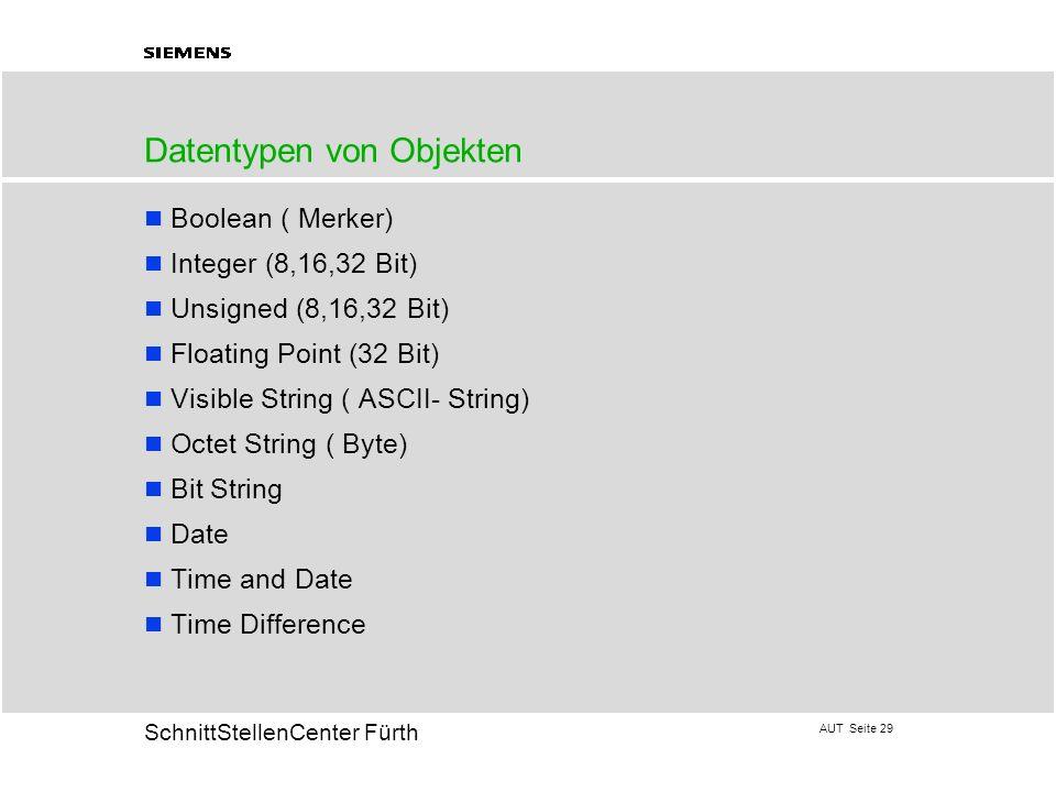Datentypen von Objekten