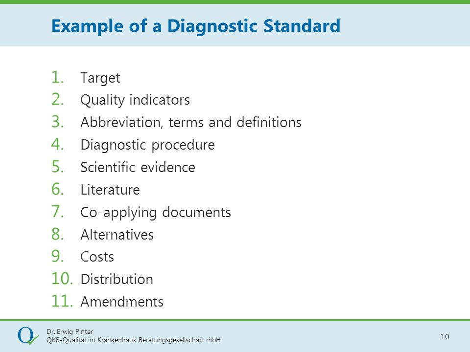 Example of a Diagnostic Standard