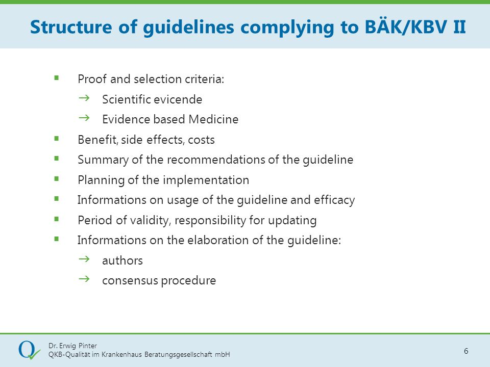 Structure of guidelines complying to BÄK/KBV II