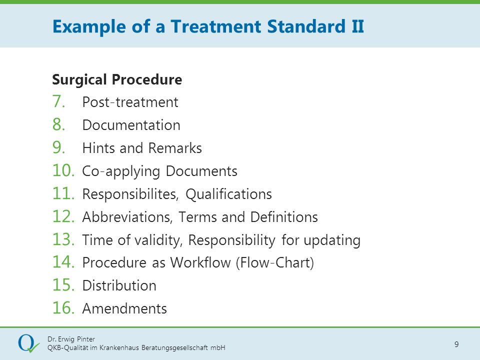 Example of a Treatment Standard II