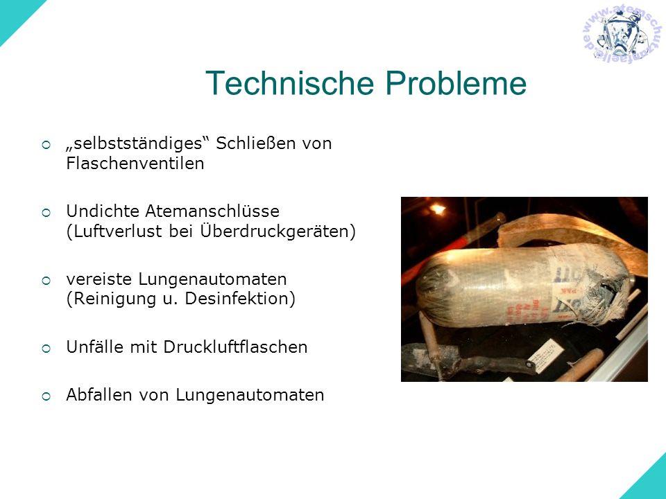 """Technische Probleme """"selbstständiges Schließen von Flaschenventilen"""