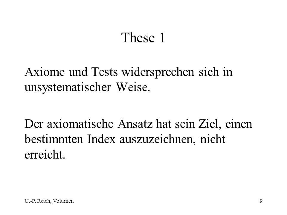 These 1 Axiome und Tests widersprechen sich in unsystematischer Weise.