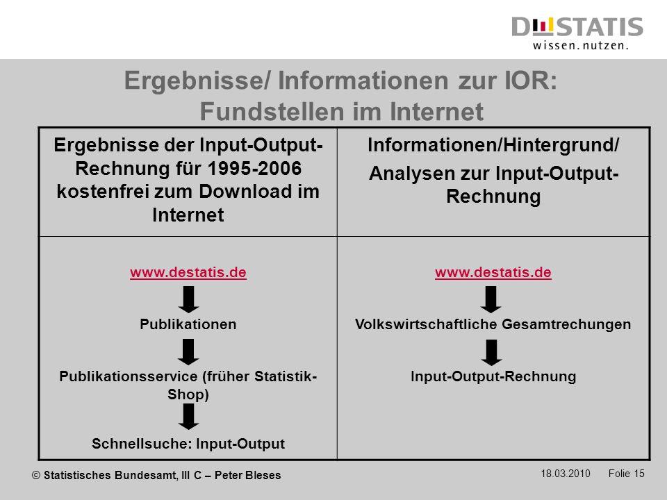 Ergebnisse/ Informationen zur IOR: Fundstellen im Internet