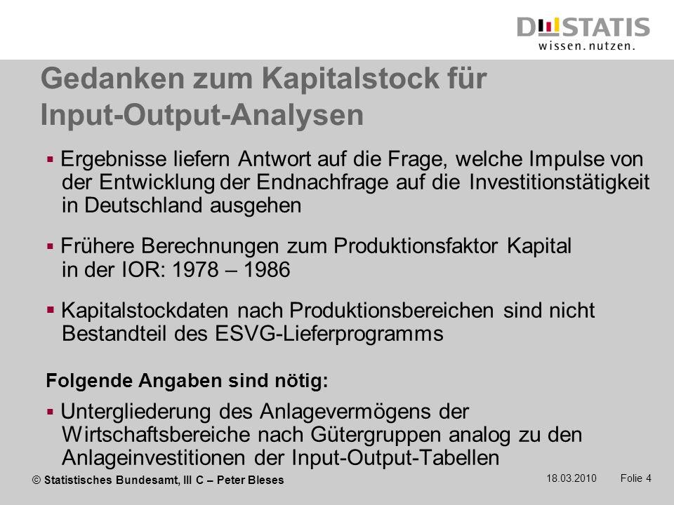 Gedanken zum Kapitalstock für Input-Output-Analysen