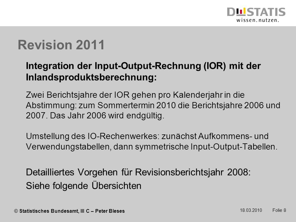Revision 2011 Integration der Input-Output-Rechnung (IOR) mit der Inlandsproduktsberechnung: