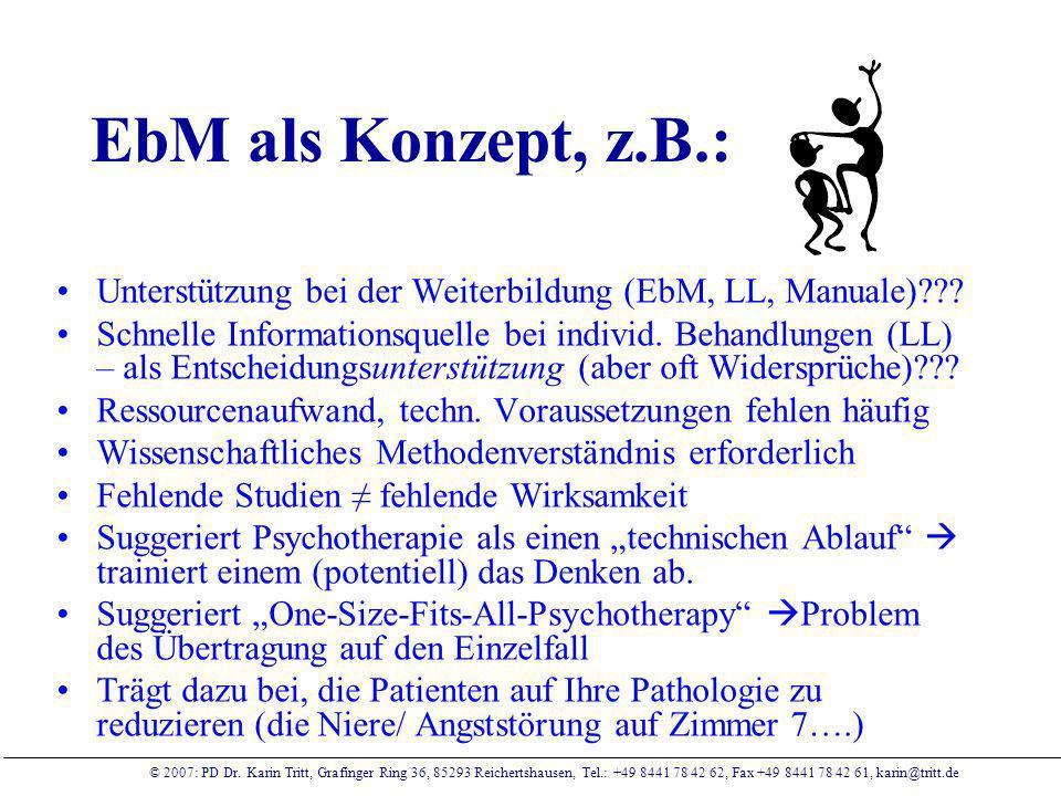 EbM als Konzept, z.B.: Unterstützung bei der Weiterbildung (EbM, LL, Manuale)