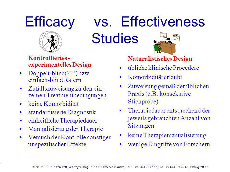 Efficacy vs. Effectiveness Studies
