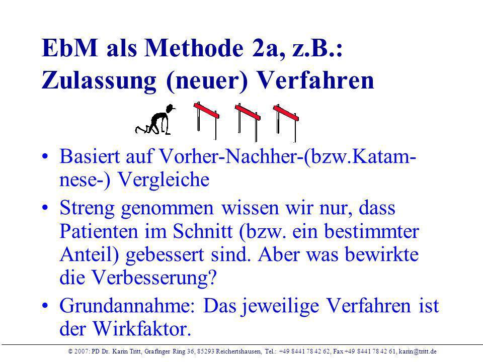 EbM als Methode 2a, z.B.: Zulassung (neuer) Verfahren