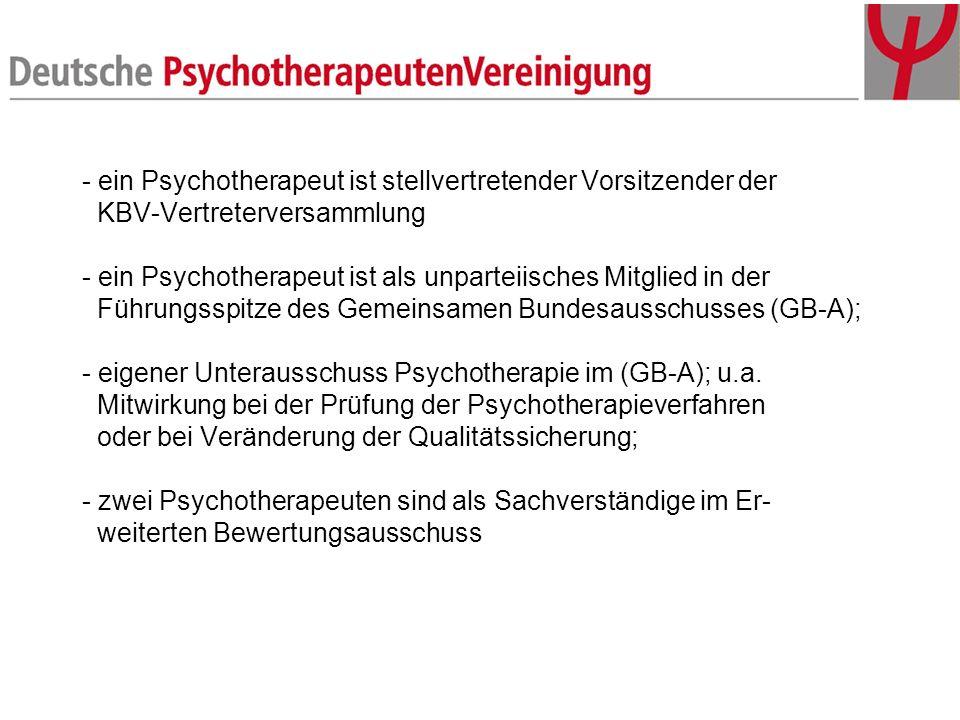 - ein Psychotherapeut ist stellvertretender Vorsitzender der KBV-Vertreterversammlung - ein Psychotherapeut ist als unparteiisches Mitglied in der Führungsspitze des Gemeinsamen Bundesausschusses (GB-A); - eigener Unterausschuss Psychotherapie im (GB-A); u.a.