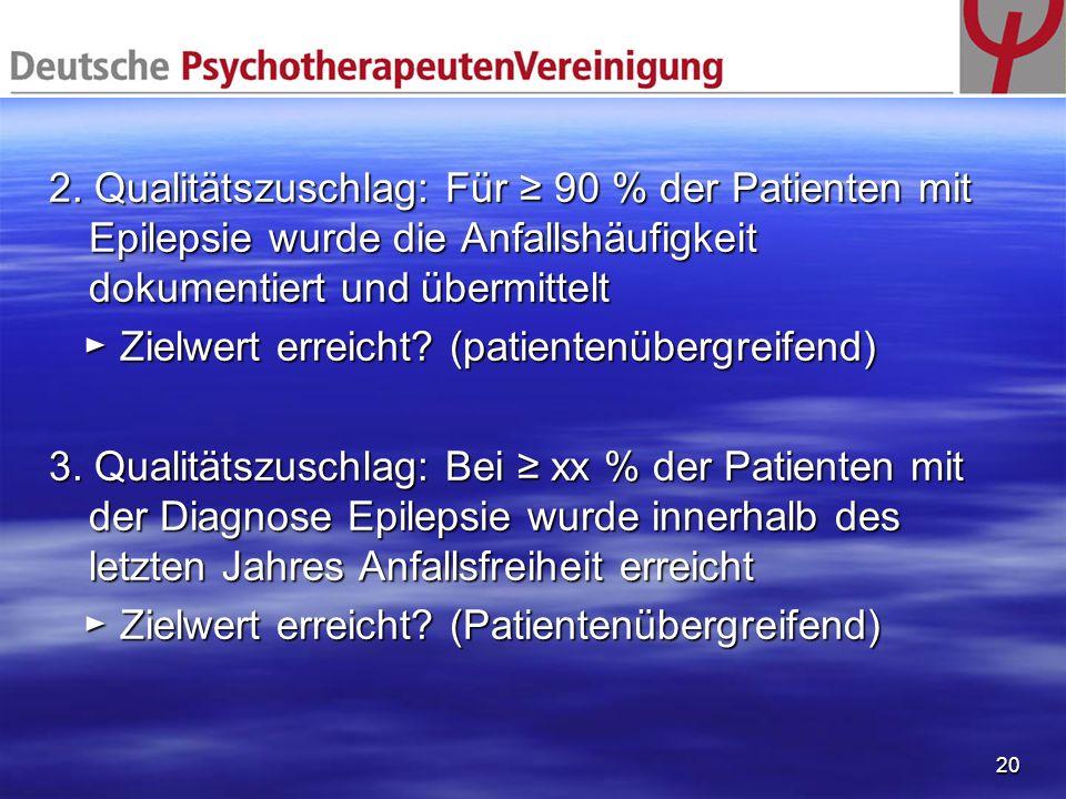 2. Qualitätszuschlag: Für ≥ 90 % der Patienten mit Epilepsie wurde die Anfallshäufigkeit dokumentiert und übermittelt