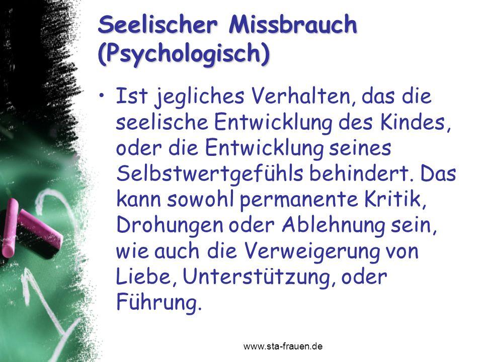 Seelischer Missbrauch (Psychologisch)